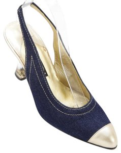 Escada Denim Blue, Gold Pumps