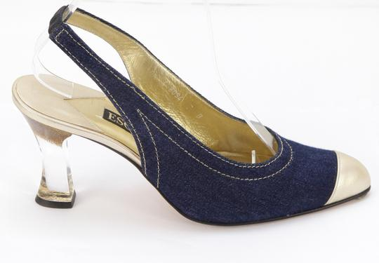 Escada Denim Blue, Gold Pumps Image 1