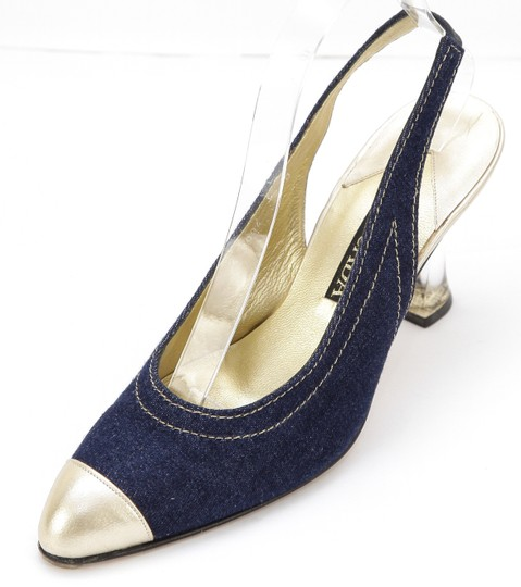 Escada Denim Blue, Gold Pumps Image 2