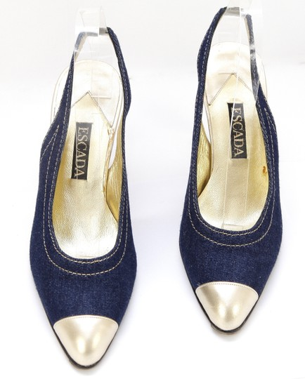 Escada Denim Blue, Gold Pumps Image 4
