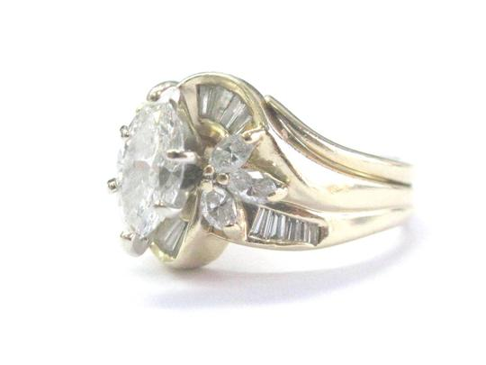 Other Fine Marquise Cut & Baguette Cut Diamond YG Solitaire W Accents Engage Image 1