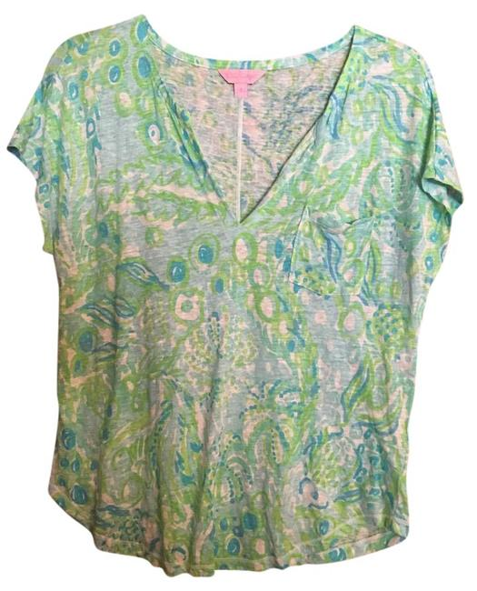 Preload https://img-static.tradesy.com/item/21001767/lilly-pulitzer-blue-green-white-duval-any-fins-possible-tee-shirt-size-6-s-0-1-650-650.jpg
