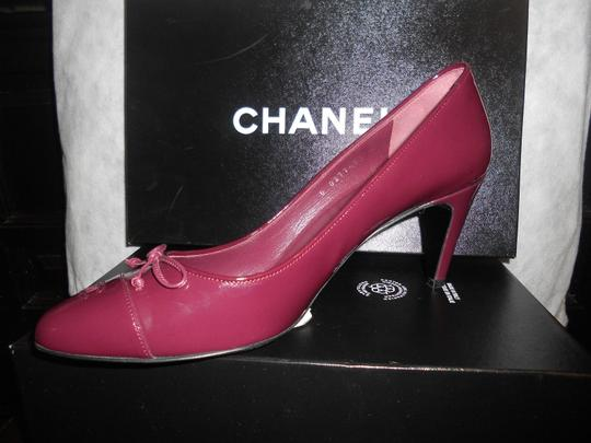 51901faa83 Chanel Burgundy Patent Leather Pointed Cap Heels Bow Pumps Size US ...