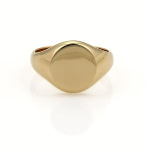 Tiffany & Co. Vintage Tiffany & Co. 18k YGold Round Flat Top Signet Ring Size 9.5