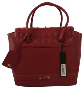JOE'S Jeans Quilted Vegan Leather Gold Hardware Satchel in Red