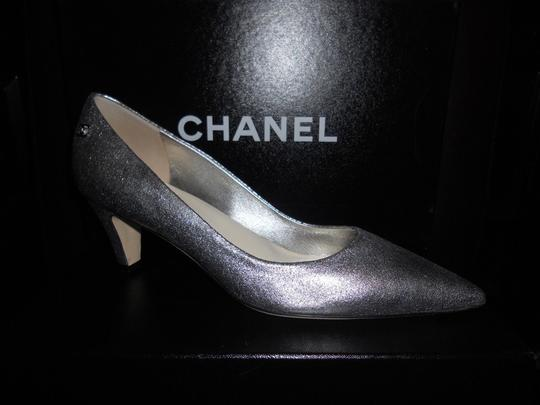 Chanel Pointed Silver Pumps Image 1