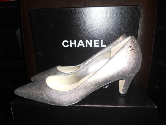 Chanel Pointed Silver Pumps Image 3