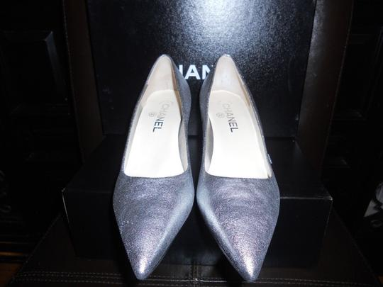 Chanel Pointed Silver Pumps Image 7