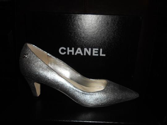 Chanel Pointed Silver Pumps Image 8