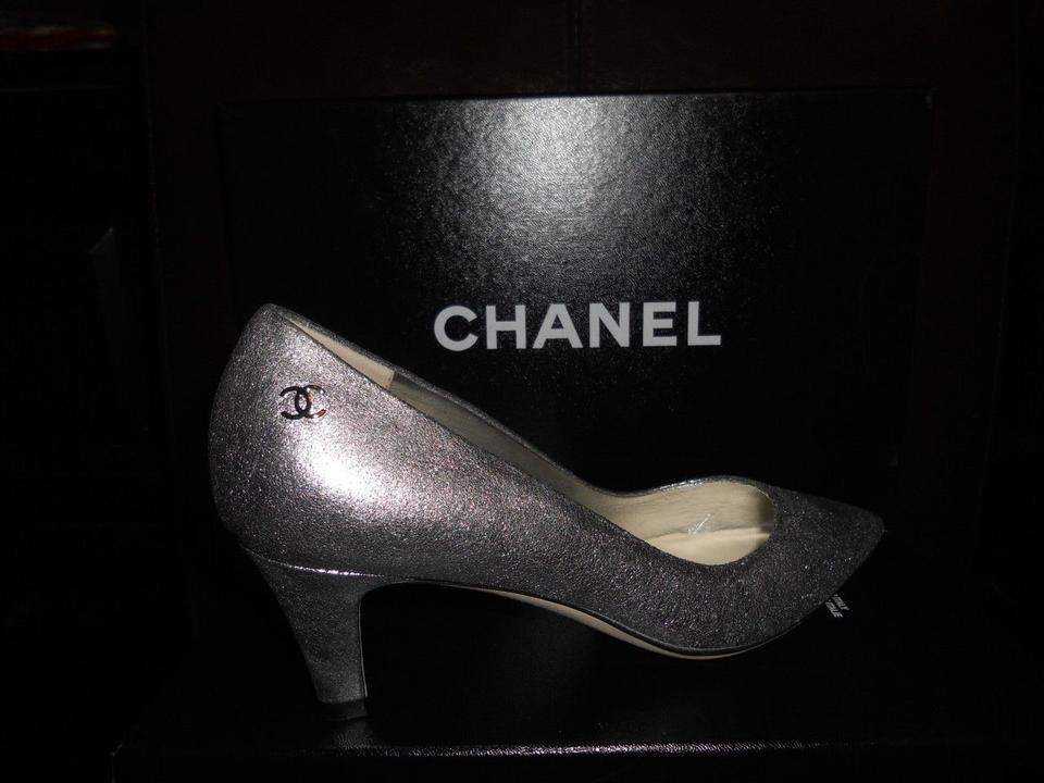 2267f35a9e5 Chanel Silver Metallic Leather Cc Logo Pointed Toe Low Pumps Size US ...