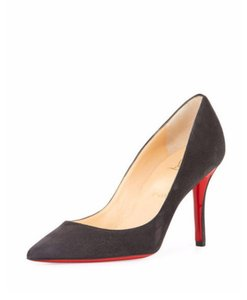 Christian Louboutin Apostrophy 85 Size 8 Suede Gray Pumps