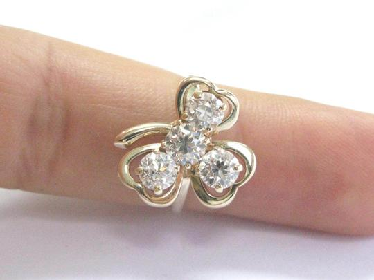 Other Fine 14Kt Vintage Old European Diamond 4-Stone Yellow Gold Leaf Ring 1 Image 3