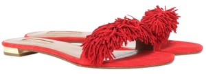 Aquazzura Fringed Flat Wild Thing Feigned Red Sandals
