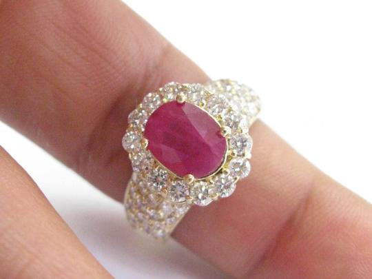 Other 18Kt Gem Ruby Diamond Yellow Gold Anniversary Jewelry Ring 4.12Ct Image 2