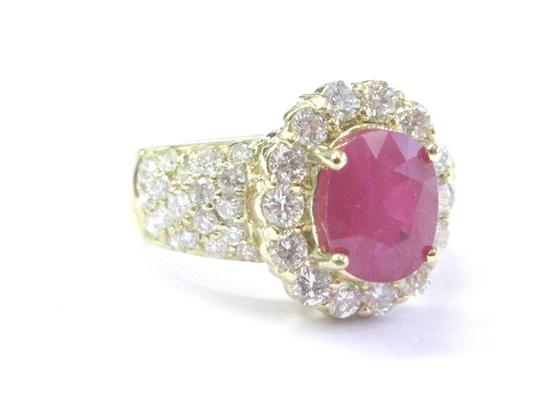 Other 18Kt Gem Ruby Diamond Yellow Gold Anniversary Jewelry Ring 4.12Ct Image 4