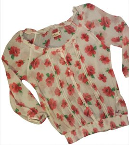 Hollister Vintage Roses Shabby Chic Casual Top cream/red/green