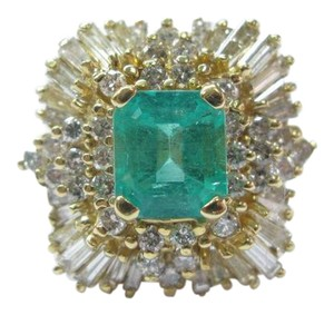 Other Fine Colombian Green Emerald Diamond 14Kt Yellow Gold Jewelry Ring 5.2