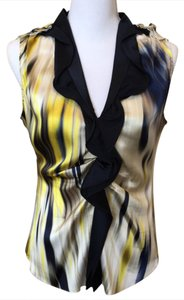 Elie Tahari Top multi colored; navy, midnight blue, ecru and yellow