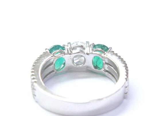 Other 18Kt Diamond & Green Emerald Three Stone White Gold Engagement Ring 2. Image 1