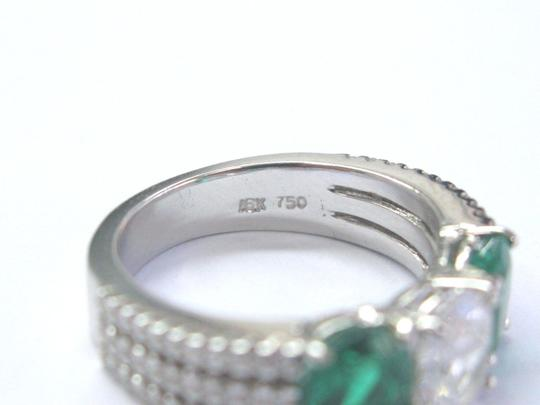 Other 18Kt Diamond & Green Emerald Three Stone White Gold Engagement Ring 2. Image 2