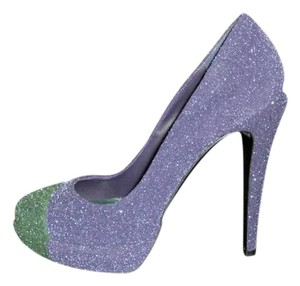 Chanel Glitter Platform Blue/Green Pumps
