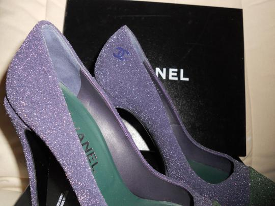 Chanel Glitter Platform Blue/Green Pumps Image 10