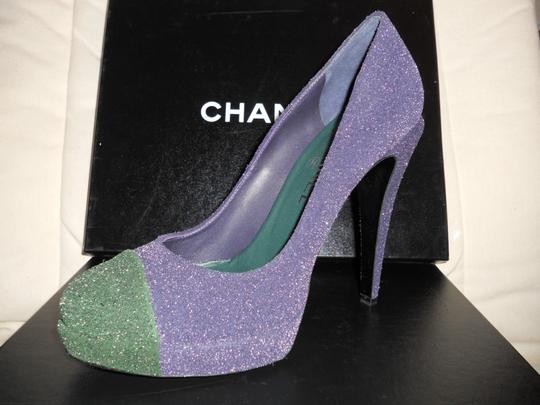 Chanel Glitter Platform Blue/Green Pumps Image 11
