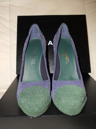 Chanel Glitter Platform Blue/Green Pumps Image 6