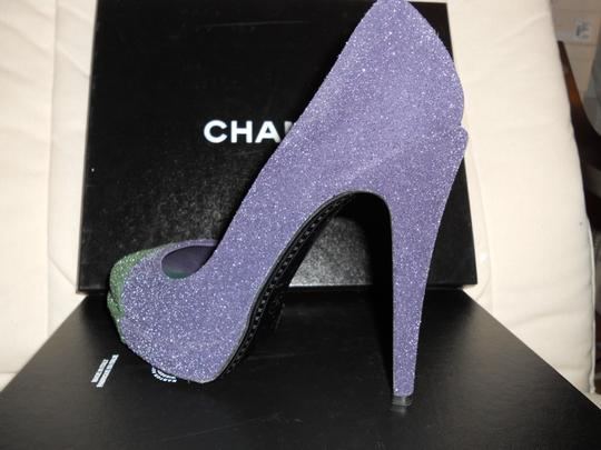 Chanel Glitter Platform Blue/Green Pumps Image 8