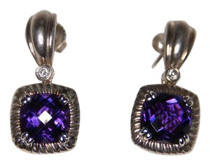 Charles Krypell Amethyst & Diamond Earrings 14kt & White Gold Plated Silve