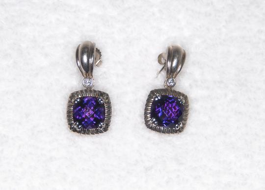 Charles Krypell Amethyst & Diamond Earrings 14kt & White Gold Plated Silve Image 1