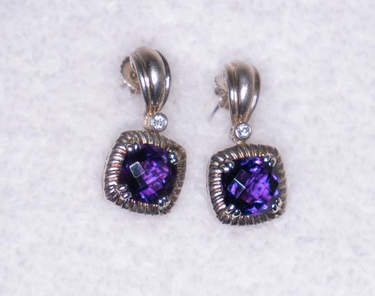 Charles Krypell Amethyst & Diamond Earrings 14kt & White Gold Plated Silve Image 5
