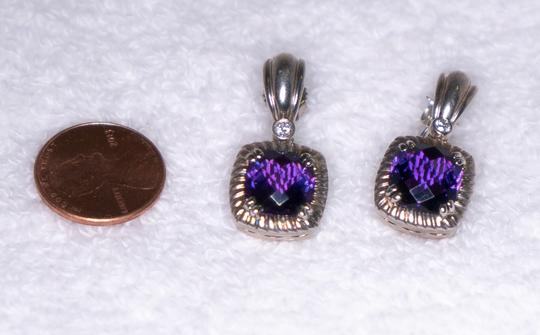 Charles Krypell Amethyst & Diamond Earrings 14kt & White Gold Plated Silve Image 8