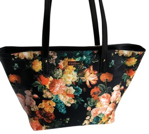 bebe Tote in Black with Floral Print