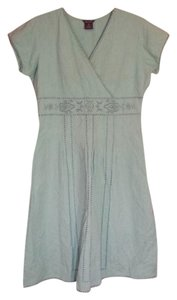 Light Blue Green Maxi Dress by Multiples Sundress Embroidered Vintage