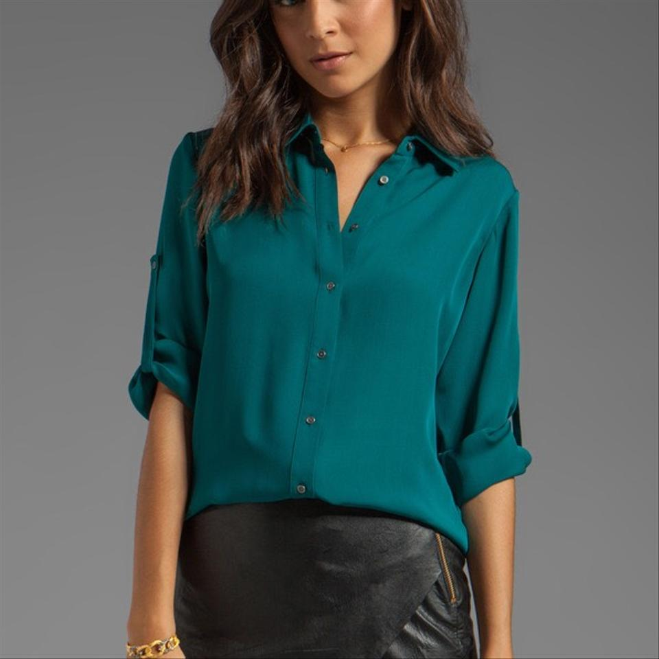 d94bc00c9f4fe5 Jay Godfrey Teal Mellon Long Sleeve Silk Blouse with Lace Up Back In ...