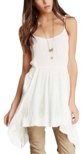 Free People short dress ivory Assymmetrical Embroidered Vintage Summer Tank on Tradesy