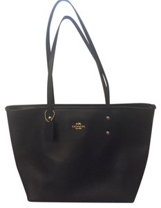 Coach Leather Gold Hardware Tote in Black