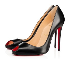Christian Louboutin Troulili 100 Rougissime 100 Open Toe Leather Black Pumps