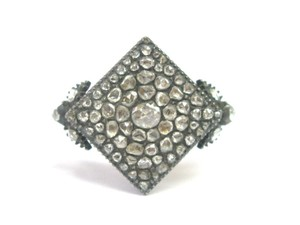 Other Fine VINTAGE 1800's Rose Cut Diamond Square Ring SS/14KT 1.62Ct