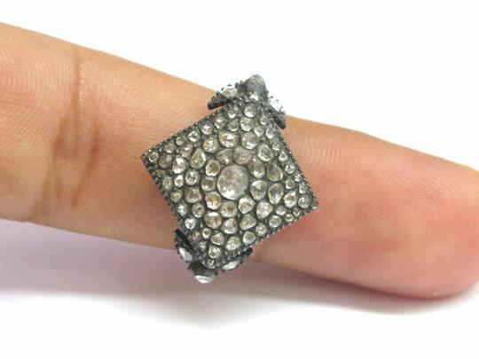 Other Fine VINTAGE 1800's Rose Cut Diamond Square Ring SS/14KT 1.62Ct Image 3