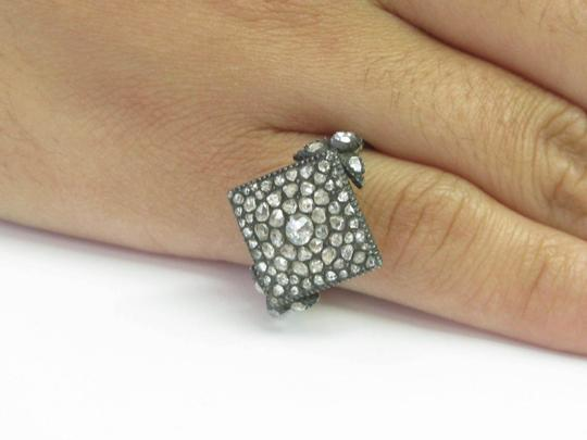 Other Fine VINTAGE 1800's Rose Cut Diamond Square Ring SS/14KT 1.62Ct Image 4