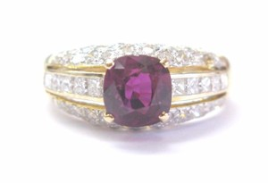 Other 18Kt Gem Ruby Multi Shape Diamond Yellow Gold Soitaire W Accent Ring 2