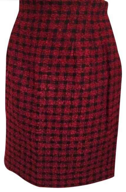 Ann Taylor Wool Plaid Skirt Red & Black Image 0