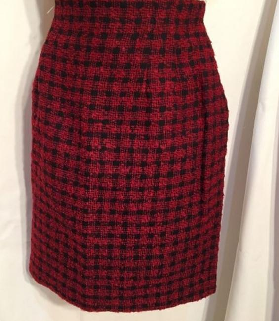 Ann Taylor Wool Plaid Skirt Red & Black Image 3