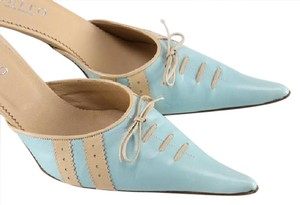 Keito Lace Tie Leather tan and blue Mules