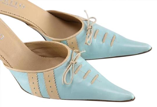 Keito Lace Tie Leather tan and blue Mules Image 0