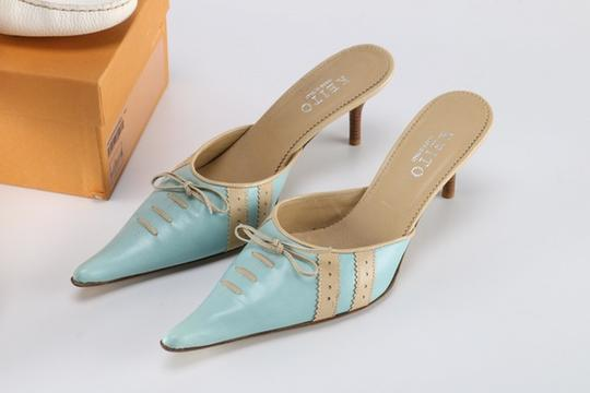 Keito Lace Tie Leather tan and blue Mules Image 2