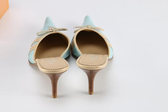 Keito Lace Tie Leather tan and blue Mules Image 3