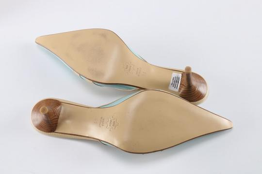 Keito Lace Tie Leather tan and blue Mules Image 4